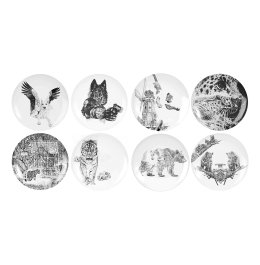 'In Homage to the Last Great Carnivores of Eurasia' Full Set of Limited Edition Fine English China Coupe Plates