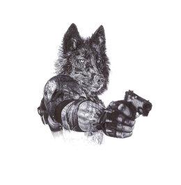 'Revenge', Grey Wolves, 2013 Black Biro Drawing