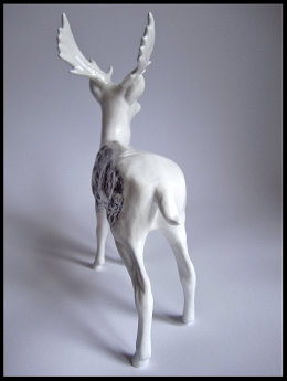 'The Prophet', Back View black Biro drawing on Beswick Stag Figurine