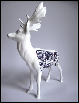 'The Prophet', Front View black Biro drawing on Beswick Stag Figurine