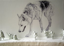 'THE WOLF'S HOUSE', Side wall detail of Biro drawing