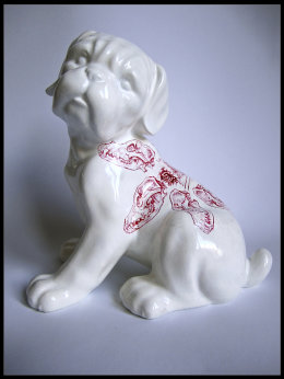 'Dog' from 'Girl and Dog', Front View red Biro drawing on found Royal Ashmore Ceramic Boxer Dog Puppy figurine