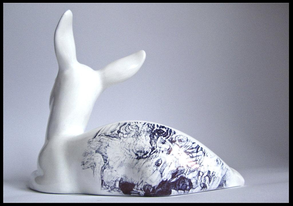 'Machli', Back View black Biro on found Ceramic Midwinter Fawn Figurine