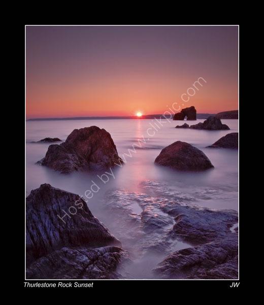 THURLESTONE-ROCK-SUNSET