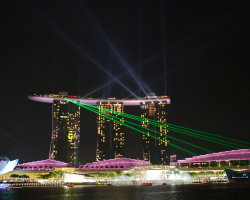 The laser show at the Marina Bay Sands Hotel