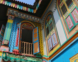 Brightly coloured houses in Little India, Singapore