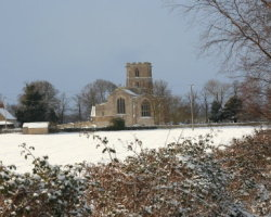 Maxey Church in the snow