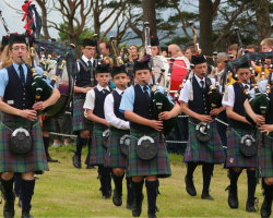 Pipers at the Skye Highland Games