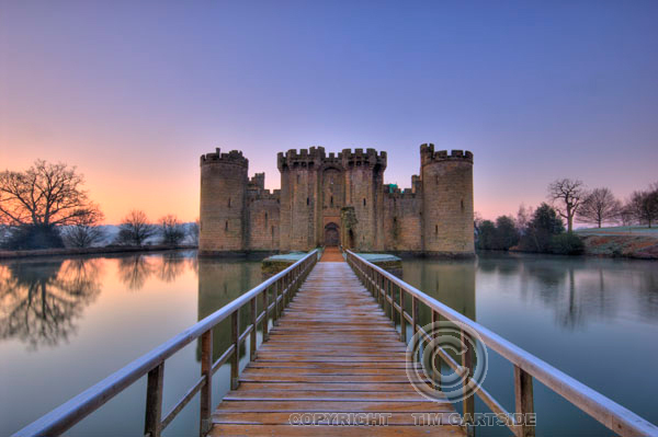 Bodiam Castle, Sussex at sunrise on a cold winters day