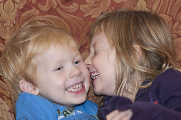 Brother & Sister laughing