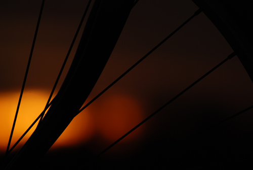 Bike wheel sunrise