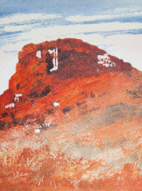 """Topping's Fiery Ironstone - Mixed Media - 13 ¼"""" x 9"""" - SOLD"""
