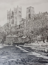 "Durham Cathedral at Mid Winter - Original Graphite Drawing - 21"" x 21"" - NFS"