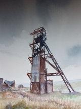 "The 80 Fathoms Shaft, Groverake Mine - Watercolour - 19 ¾"" x 12"""