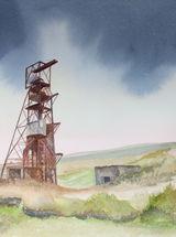 """Groverake Mine, Weardale - Watercolour - 11 ½"""" x 13"""""""