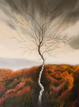 """Heather and Birch - Oil on Canvas - 18 ¾"""" x 26 ½"""""""