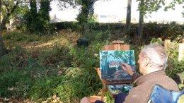 Oil painting lookiing towards the Bridge Inn Pub at Ford in Ridgeway,North Derbyshire.