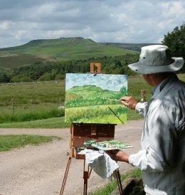 Oil painting, Longshaw Estate,looking towards Higger Tor & Carl Wark