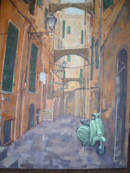 Sold £130.Lambretta in a back street in San Remo Italy. This painting can be seen in the La Coppola salumeria [deli] 137 Oakbrook Road,Sheffield.