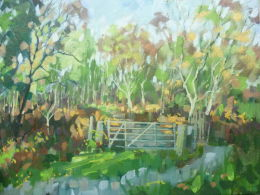 Framed.For sale £80.Oil on canvas. Gate leading into the Longshaw Estate,Derbyshire.