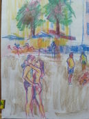 When we arrived in Santa Margharita on our way to Portofino I noticed this couple kissing on the beach at the time I thought it would make a nice painting. This sketch is in pastel.