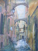This painting shows a back street in San Remo Italy.An old lady can be seen in the distance