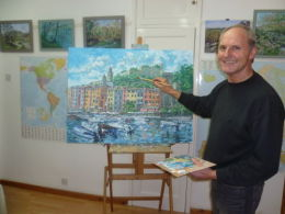 My self putting the final touches to this painting that seems to have taken so long to finish.