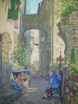 Back street San Remo, Liguria, Italy Acrylic on canvas £350