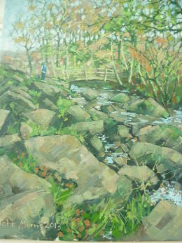 Framed.£80.Oil on canvas. Padley Gorge,Longshaw Estate,Derbyshire