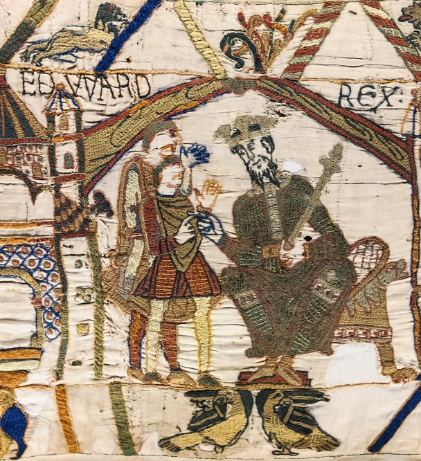 Edward the Confessor enthroned at Westminster  Abbey, as recorded in the Bayeux Tapestry