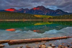 Pyramid mountain and Patricia lake, Alberta