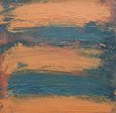 Traces - orange -green. Oil on board. 23 x 23 cm