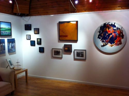 View of some of my paintings (centre) at the Limelight event