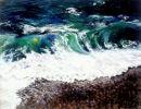Waves with flotsam.