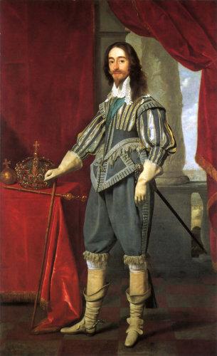 Charles I alongside the Tudor State Crown, by Daniel Mytens