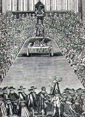 Charles I overseeing the Long Parliament