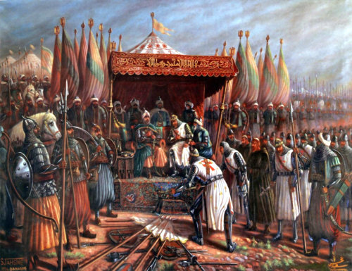 Guy de Lusignan surrenders to Saladin