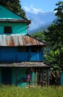 Blue house near Arkhet bazar, Manaslu