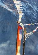 Wind horse (prayer flags) at Samdo, Manaslu.