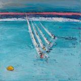 Sailing around Whitecliff buoy.100 x 100 cm canvas.SOLD