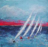 Five boats racing