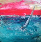 Sailing into the pink sky.Sold