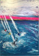 Racing in the evening light.Sold