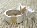 Two Halves Joined - Ring in Silver and 9ct gold