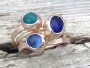 Ripple Stack Ring With Sea-glass - Gold