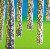 trees blue green screenprint