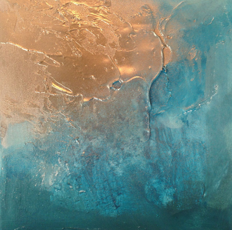 Contemporary canvas art canvas artwork 39 teal gold abstract 39 for Gold paintings on canvas