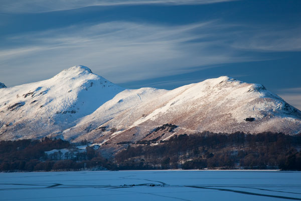 Snow covered Catbells across a frozen Derwent Water