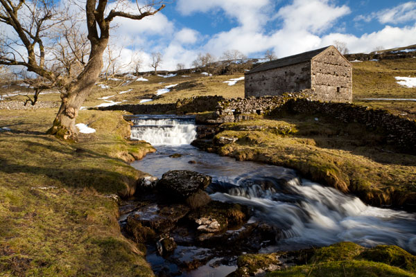 Spring meltwater fills Cray Gill above Wharfedale