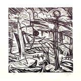 Linoprint, Drift, 30x30cms